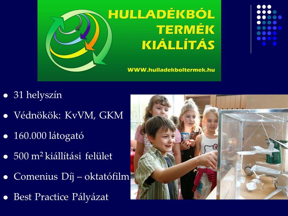 31 helyszín Védnökök: KvVM, GKM. 160.000 látogató. 500 m2 kiállítási felület. Comenius Díj – oktatófilm.