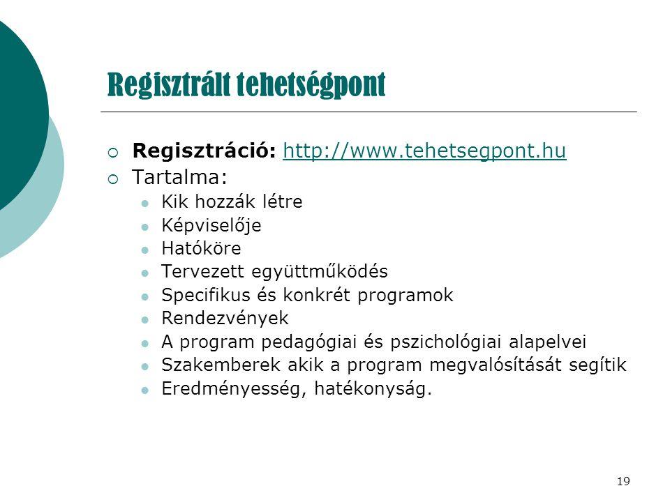 Regisztrált tehetségpont