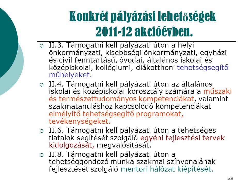 Konkrét pályázási lehetőségek 2011-12 akcióévben.