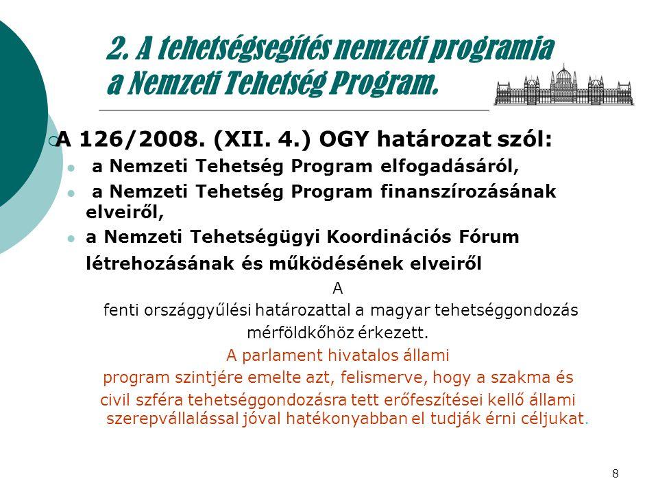 2. A tehetségsegítés nemzeti programja a Nemzeti Tehetség Program.