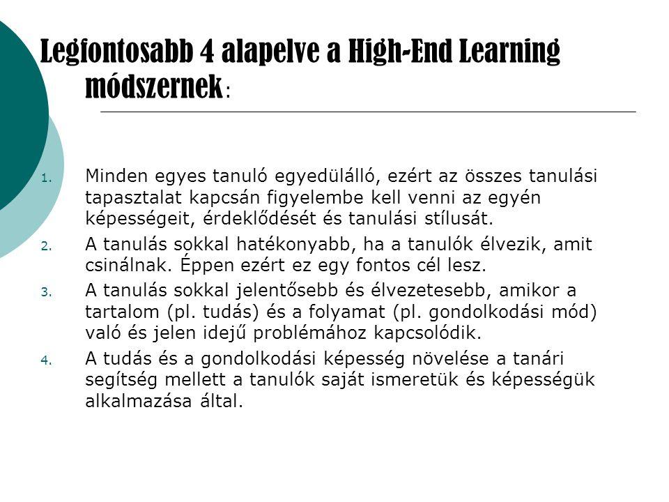 Legfontosabb 4 alapelve a High-End Learning módszernek: