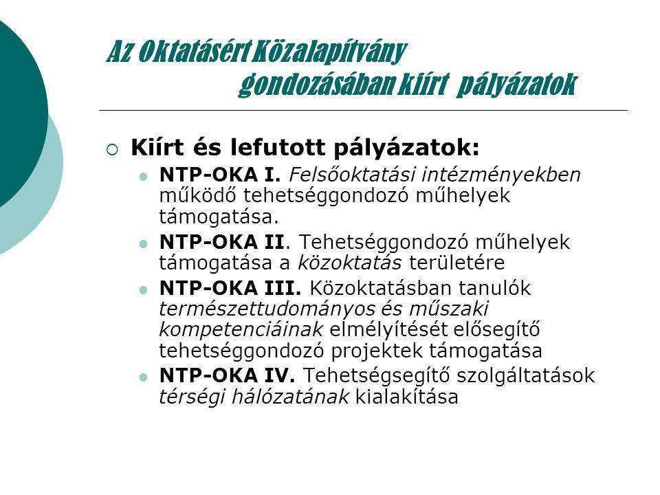 Az Oktatásért Közalapítvány gondozásában kiírt pályázatok