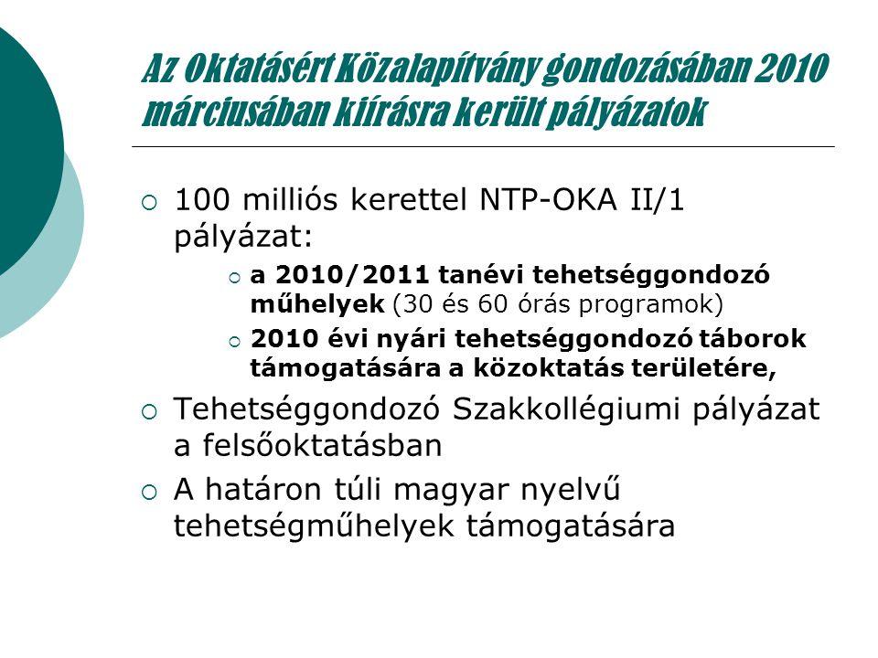 Az Oktatásért Közalapítvány gondozásában 2010 márciusában kiírásra került pályázatok