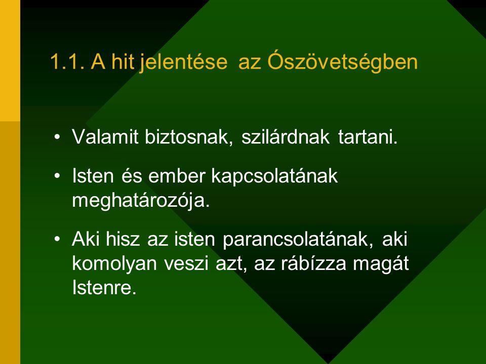 1.1. A hit jelentése az Ószövetségben