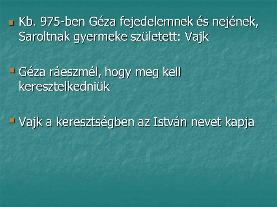 Kb. 975-ben Géza fejedelemnek és nejének, Saroltnak gyermeke született: Vajk