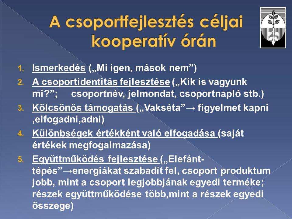 A csoportfejlesztés céljai kooperatív órán