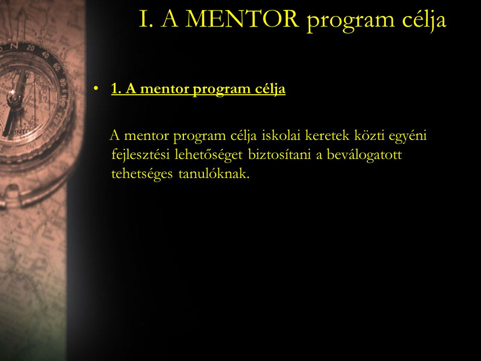 I. A MENTOR program célja