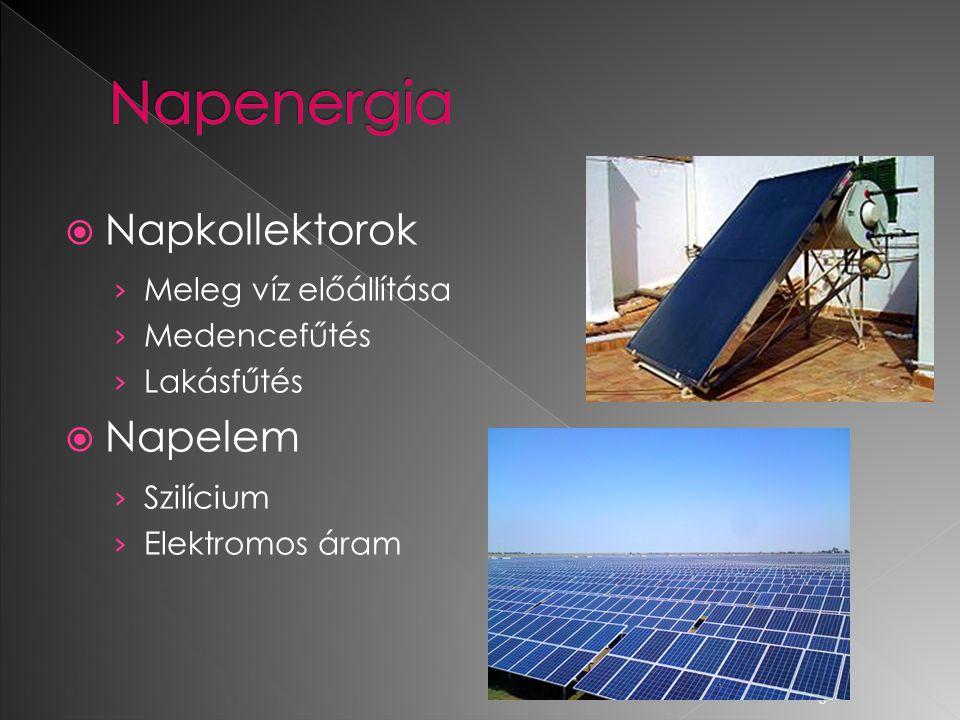 Napenergia Napkollektorok Napelem Meleg víz előállítása Medencefűtés