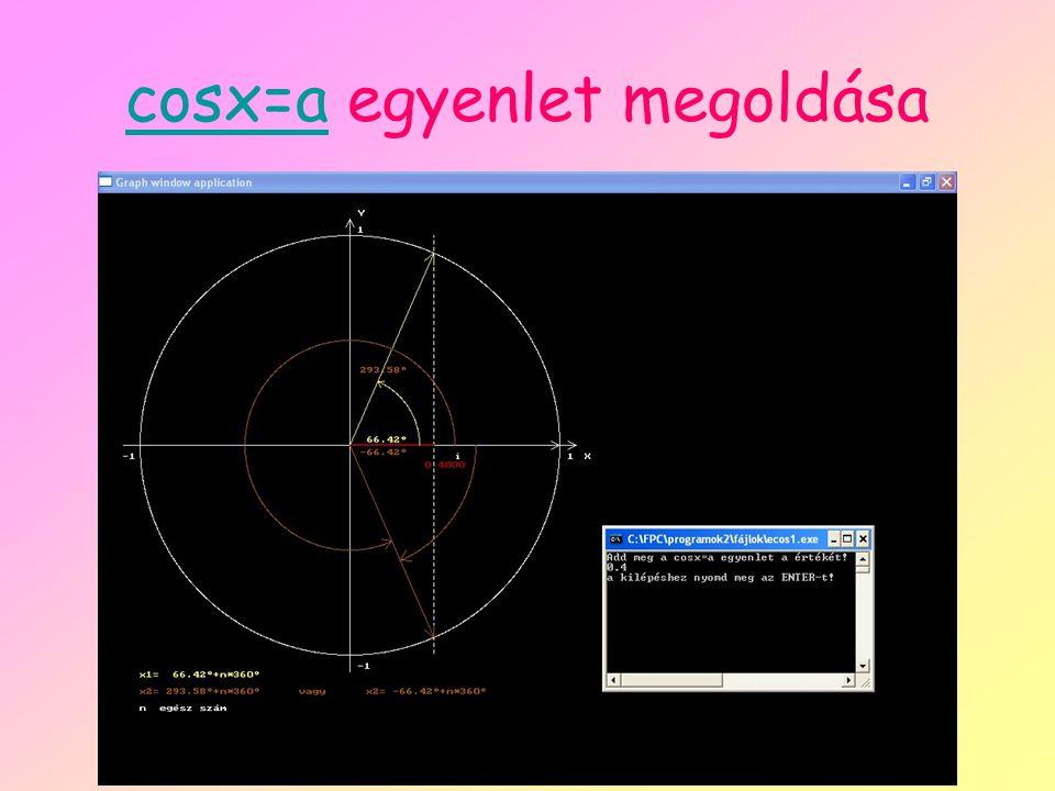 cosx=a egyenlet megoldása