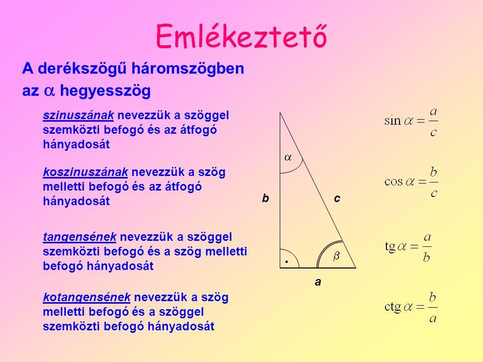 Emlékeztető A derékszögű háromszögben az  hegyesszög