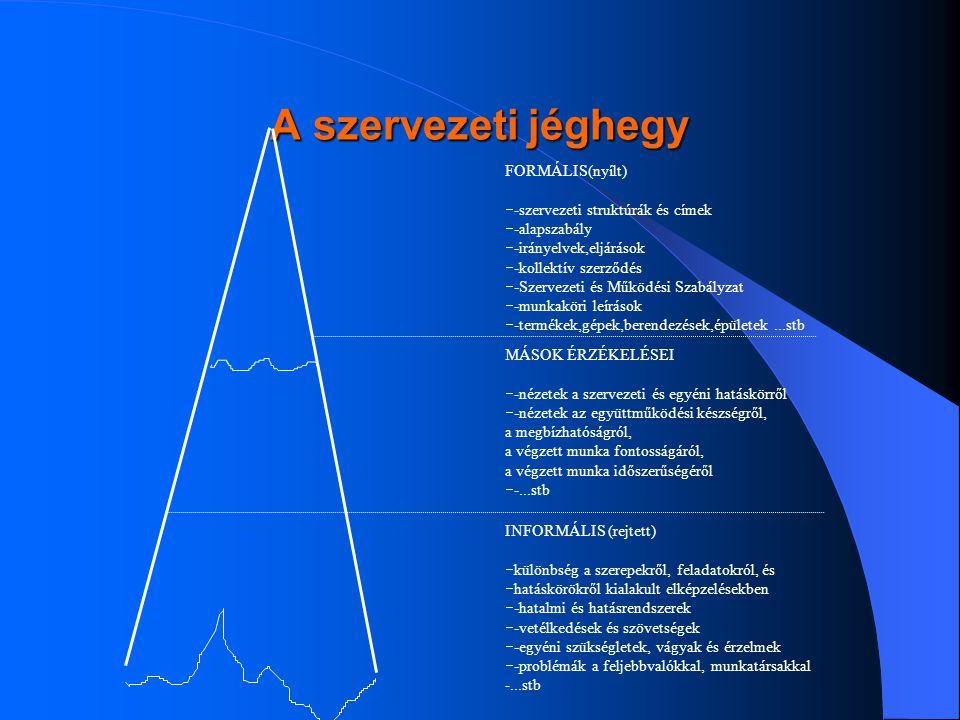A szervezeti jéghegy FORMÁLIS(nyílt) --szervezeti struktúrák és címek