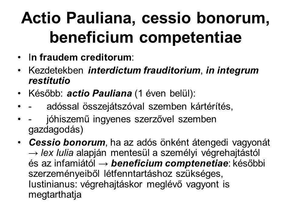 Actio Pauliana, cessio bonorum, beneficium competentiae
