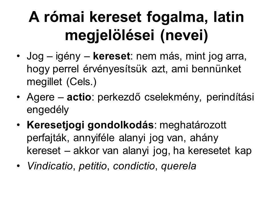 A római kereset fogalma, latin megjelölései (nevei)