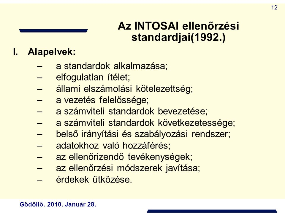 Az INTOSAI ellenőrzési standardjai(1992.)