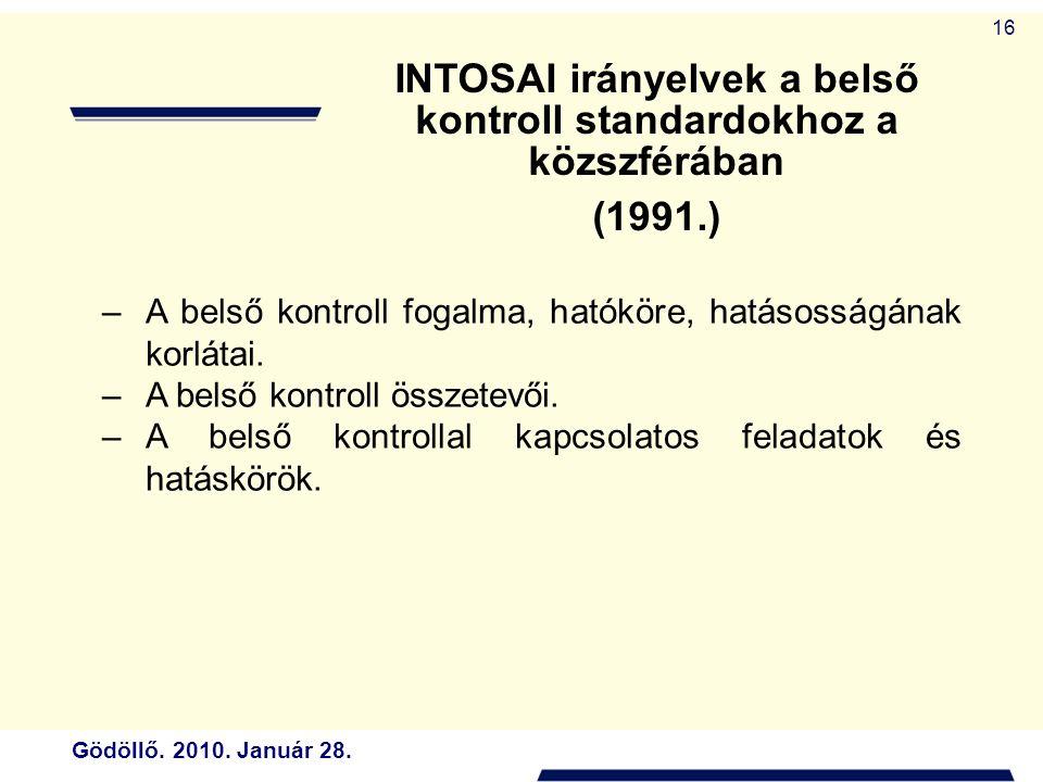 INTOSAI irányelvek a belső kontroll standardokhoz a közszférában