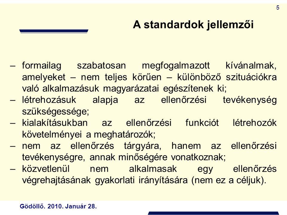 A standardok jellemzői