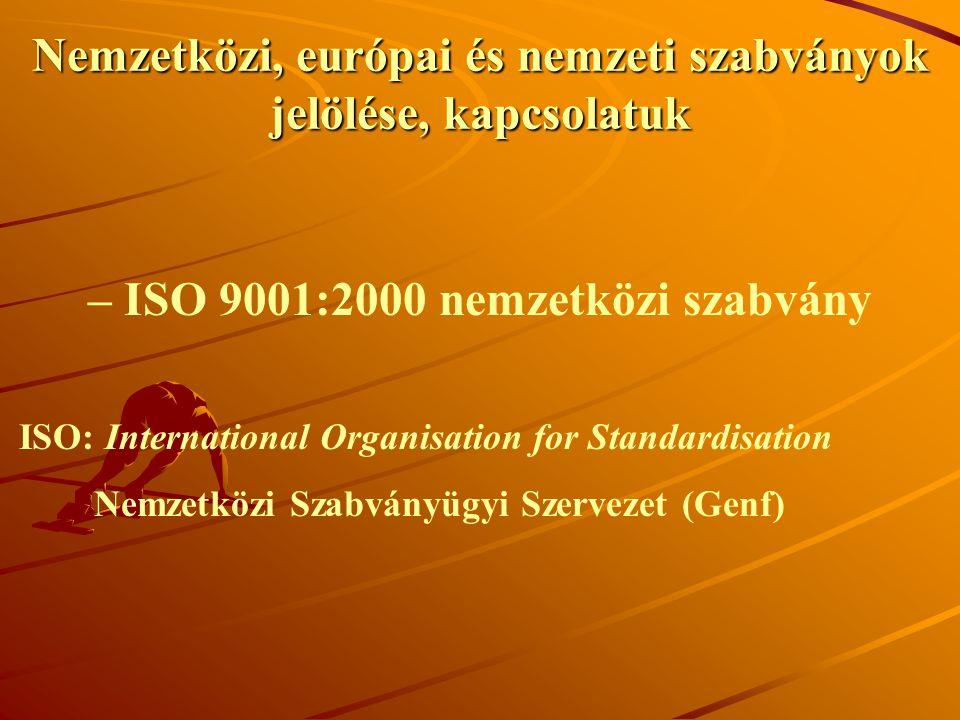 Nemzetközi, európai és nemzeti szabványok jelölése, kapcsolatuk