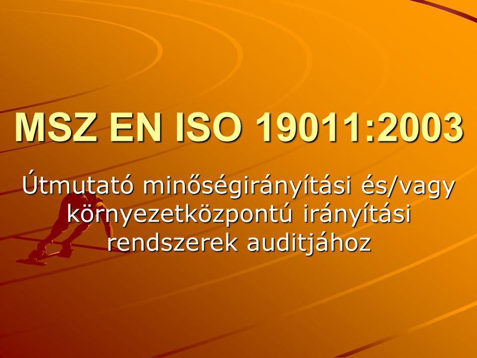 MSZ EN ISO 19011:2003 Útmutató minőségirányítási és/vagy környezetközpontú irányítási rendszerek auditjához.