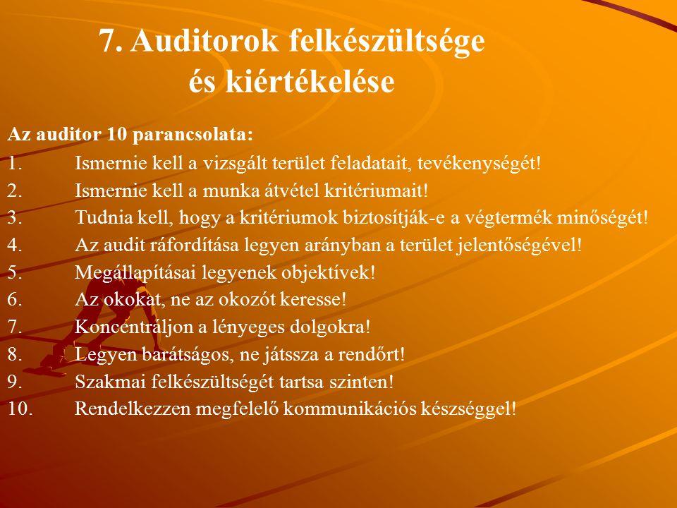 7. Auditorok felkészültsége