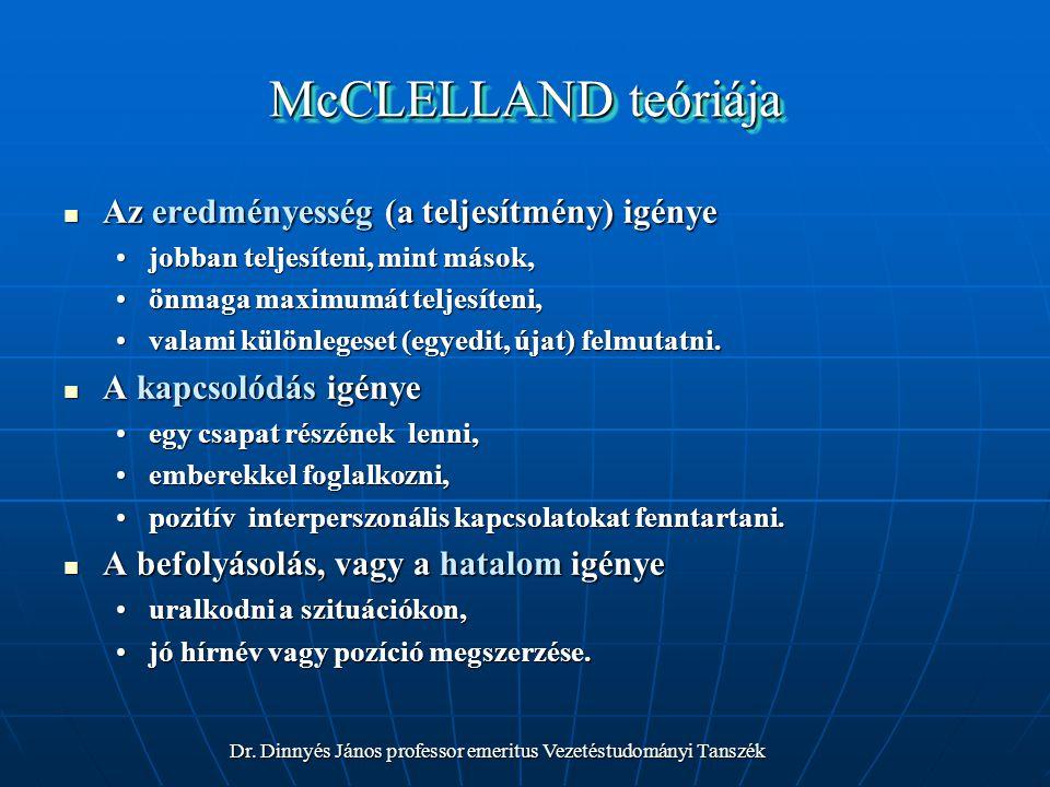McCLELLAND teóriája Az eredményesség (a teljesítmény) igénye