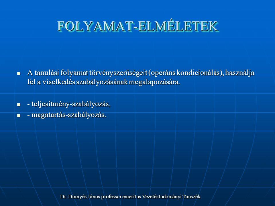 FOLYAMAT-ELMÉLETEK A tanulási folyamat törvényszerűségeit (operáns kondicionálás), használja fel a viselkedés szabályozásának megalapozására.