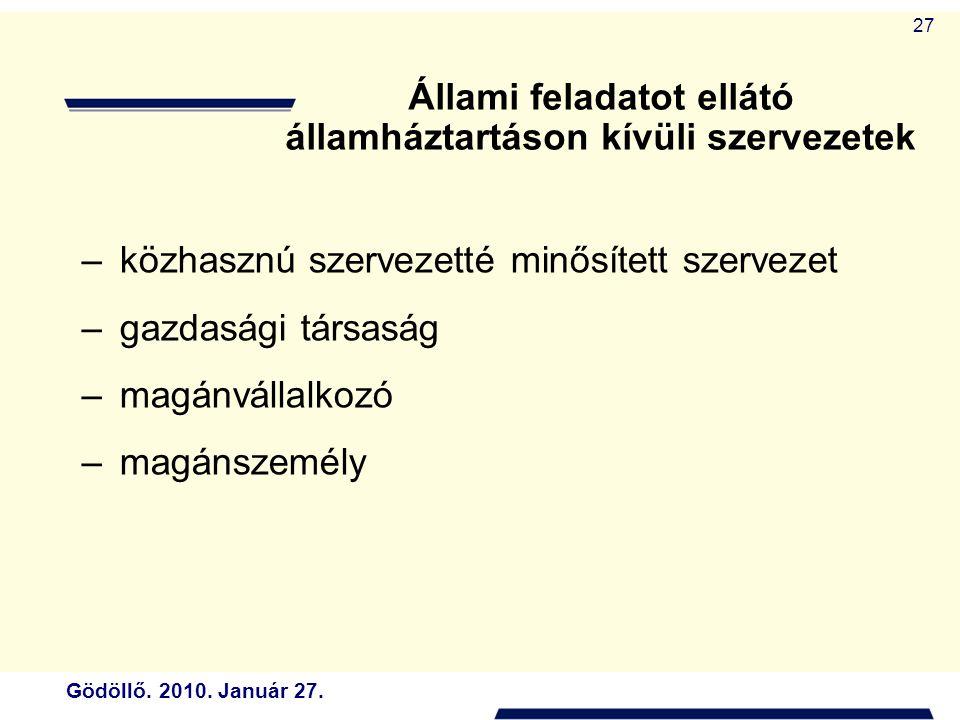 Állami feladatot ellátó államháztartáson kívüli szervezetek