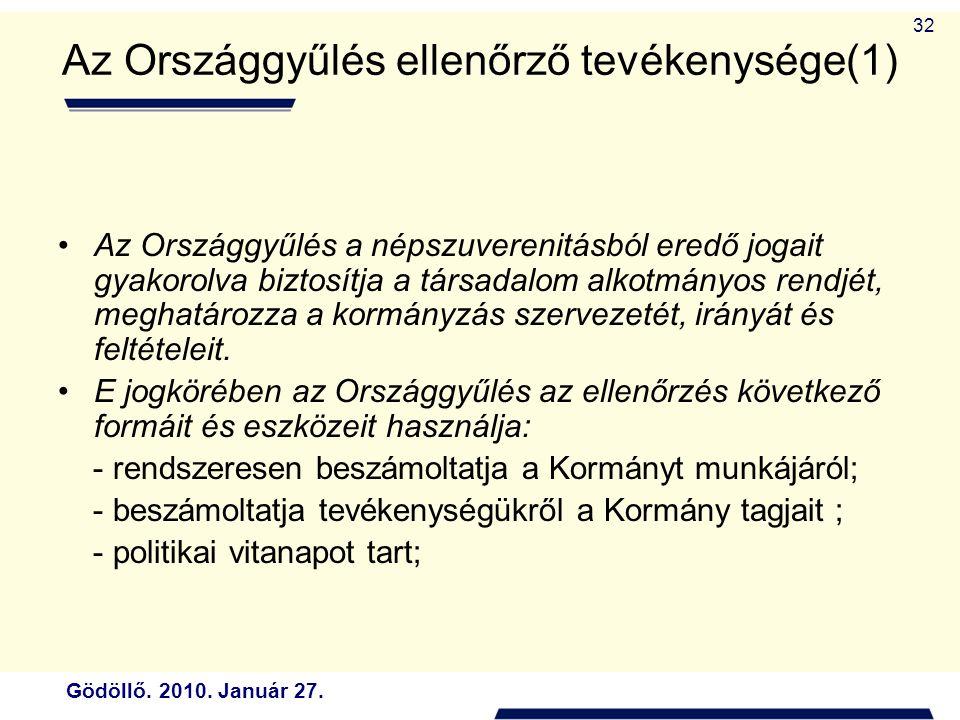 Az Országgyűlés ellenőrző tevékenysége(1)