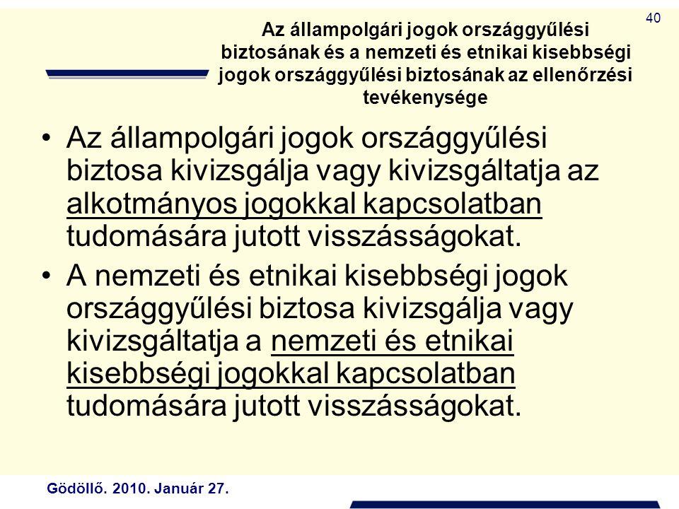 Az állampolgári jogok országgyűlési biztosának és a nemzeti és etnikai kisebbségi jogok országgyűlési biztosának az ellenőrzési tevékenysége