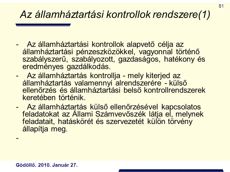 Az államháztartási kontrollok rendszere(1)