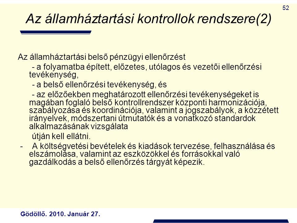 Az államháztartási kontrollok rendszere(2)