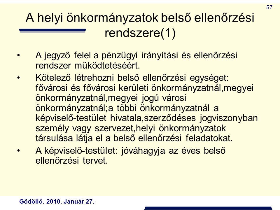 A helyi önkormányzatok belső ellenőrzési rendszere(1)
