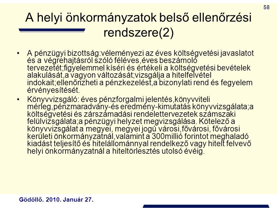 A helyi önkormányzatok belső ellenőrzési rendszere(2)