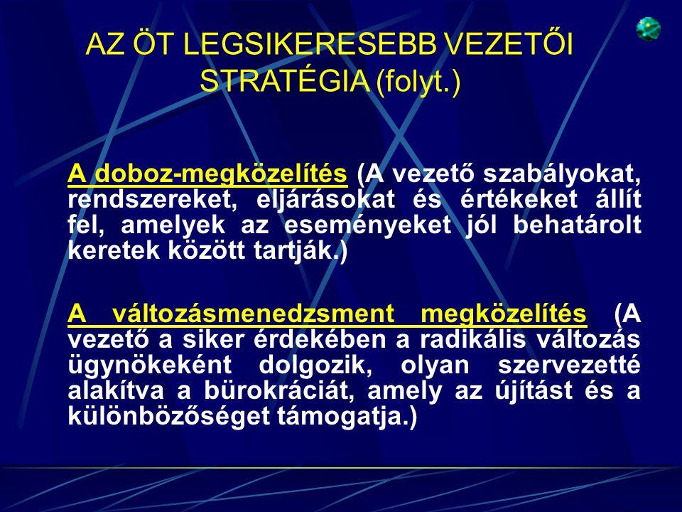 AZ ÖT LEGSIKERESEBB VEZETŐI STRATÉGIA (folyt.)