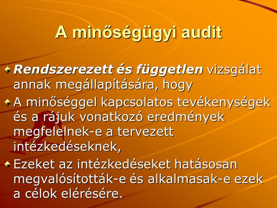 A minőségügyi audit Rendszerezett és független vizsgálat annak megállapítására, hogy.