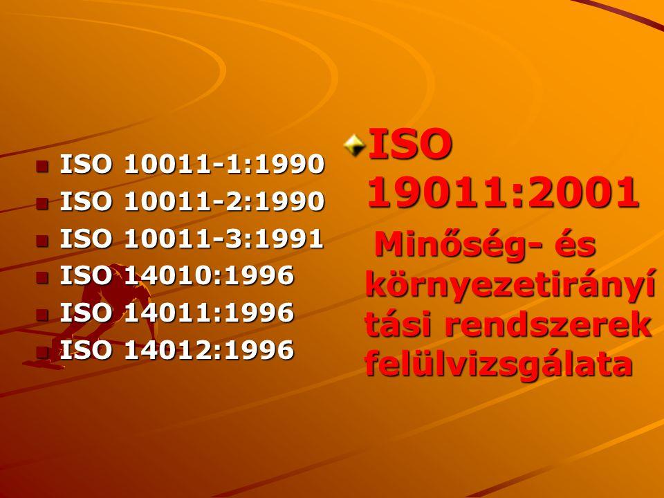 ISO 19011:2001 Minőség- és környezetirányítási rendszerek felülvizsgálata. ISO 10011-1:1990. ISO 10011-2:1990.
