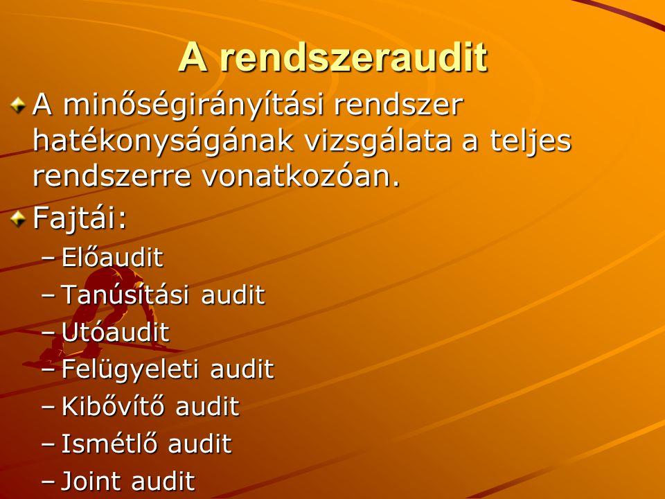 A rendszeraudit A minőségirányítási rendszer hatékonyságának vizsgálata a teljes rendszerre vonatkozóan.