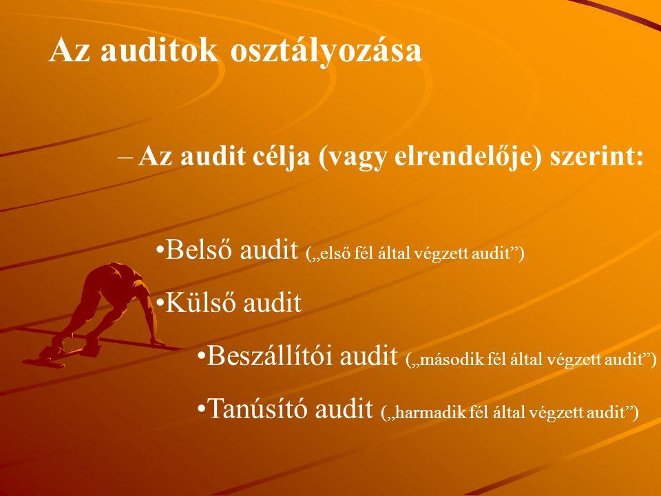Az auditok osztályozása