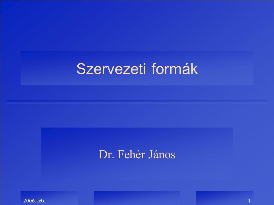 Szervezeti formák Dr. Fehér János 2006. feb.