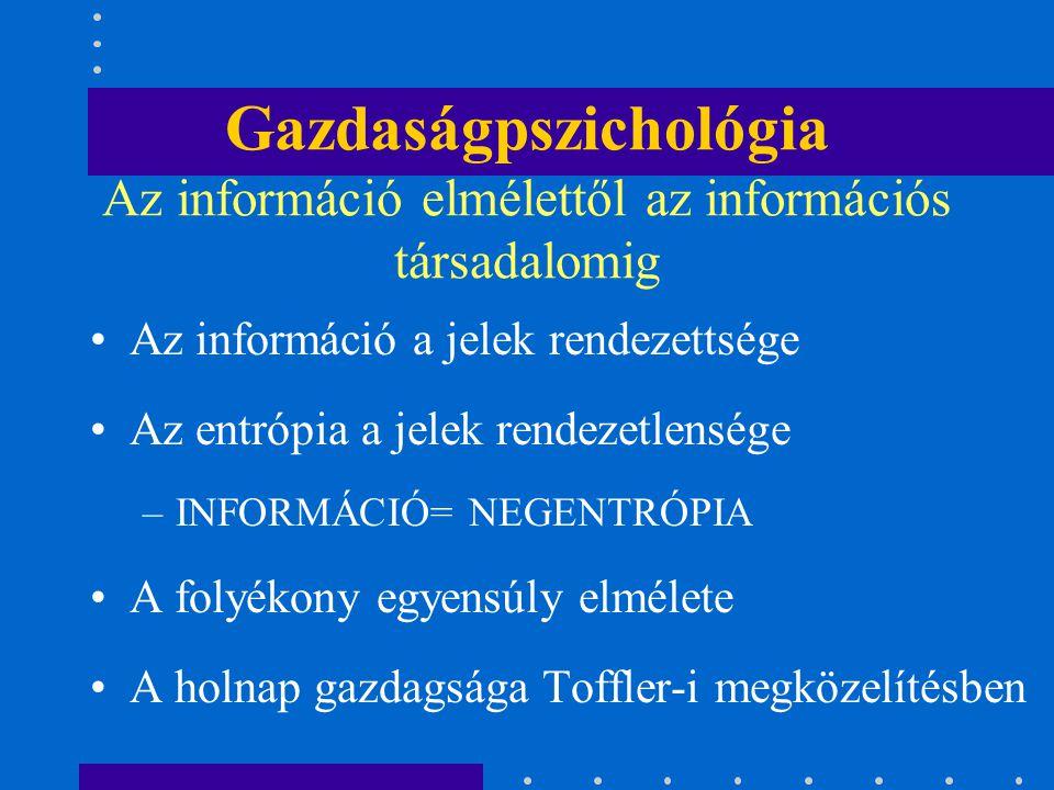 Gazdaságpszichológia Az információ elmélettől az információs társadalomig