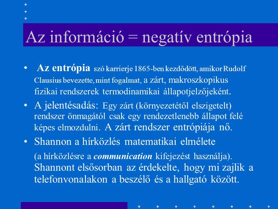 Az információ = negatív entrópia