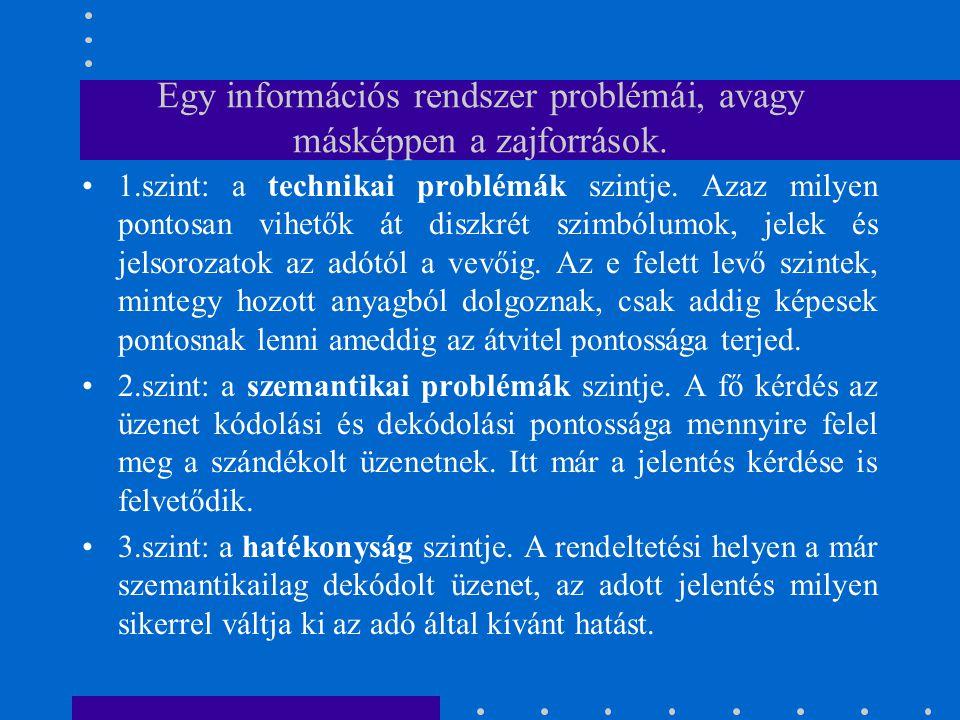 Egy információs rendszer problémái, avagy másképpen a zajforrások.