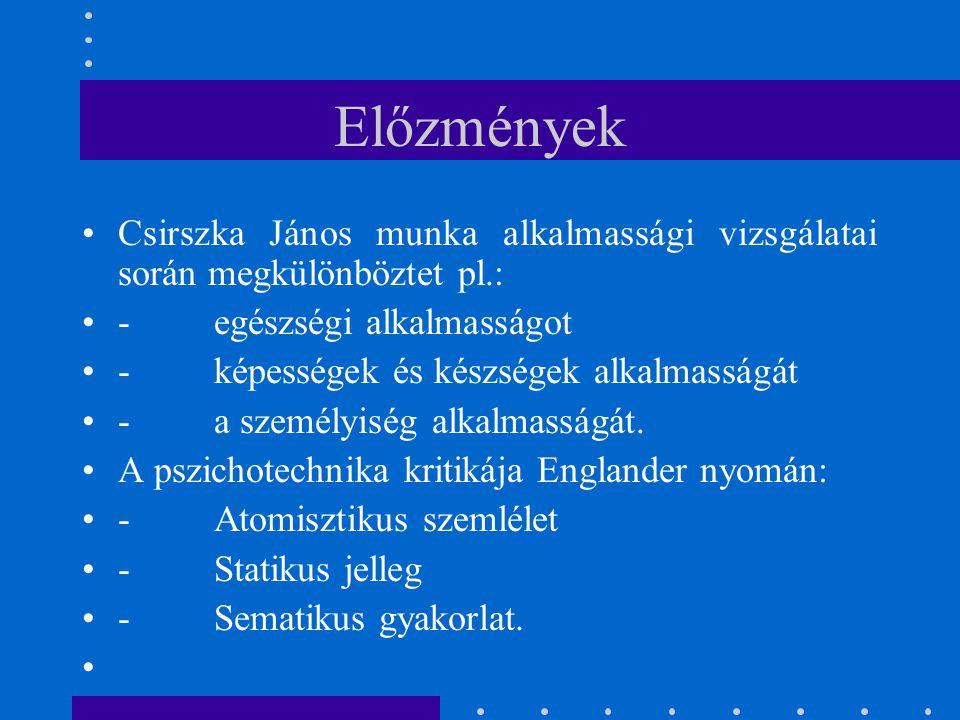 Előzmények Csirszka János munka alkalmassági vizsgálatai során megkülönböztet pl.: - egészségi alkalmasságot.