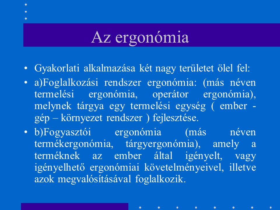 Az ergonómia Gyakorlati alkalmazása két nagy területet ölel fel: