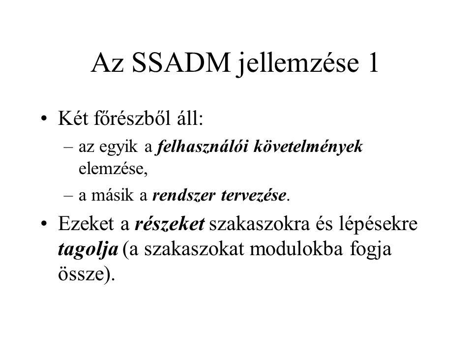 Az SSADM jellemzése 1 Két főrészből áll: