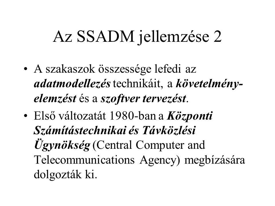 Az SSADM jellemzése 2 A szakaszok összessége lefedi az adatmodellezés technikáit, a követelmény-elemzést és a szoftver tervezést.