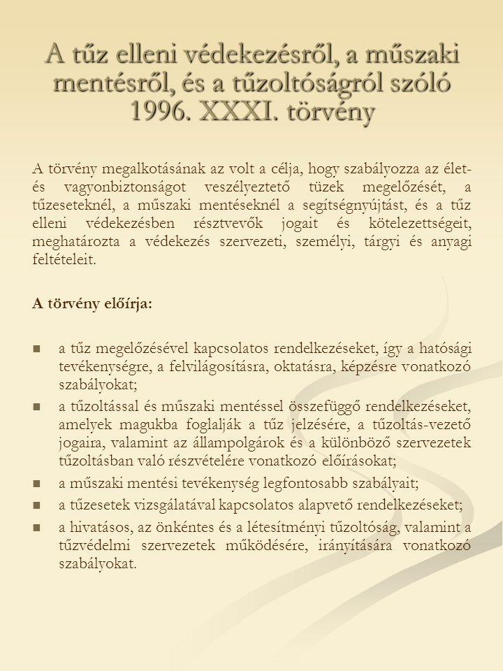 A tűz elleni védekezésről, a műszaki mentésről, és a tűzoltóságról szóló 1996. XXXI. törvény