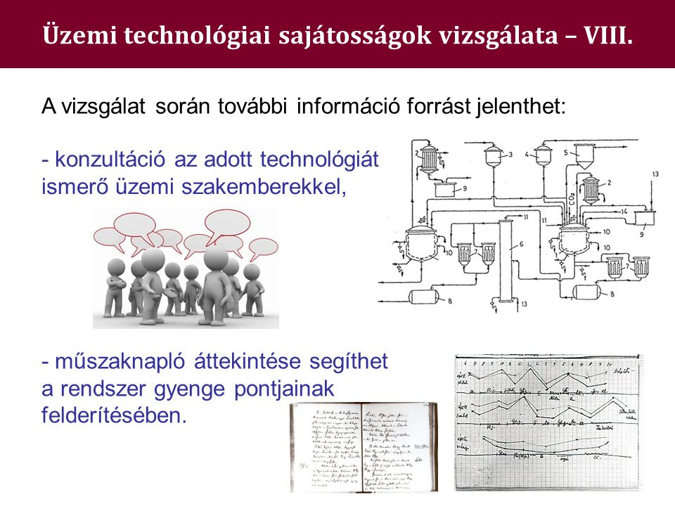 Üzemi technológiai sajátosságok vizsgálata – VIII.