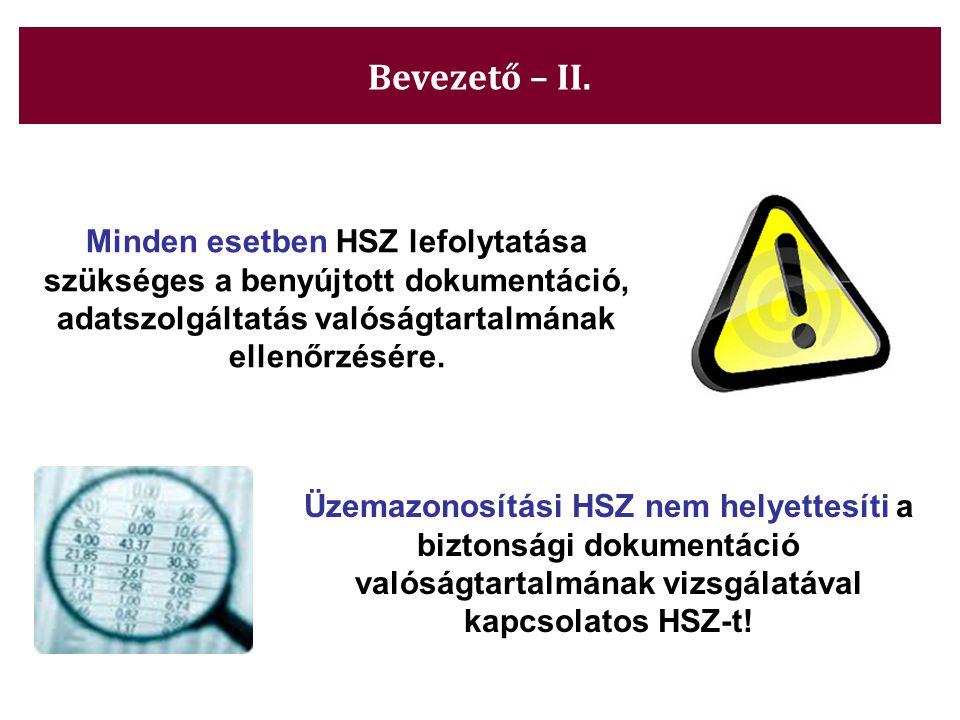 Bevezető – II. Minden esetben HSZ lefolytatása szükséges a benyújtott dokumentáció, adatszolgáltatás valóságtartalmának ellenőrzésére.