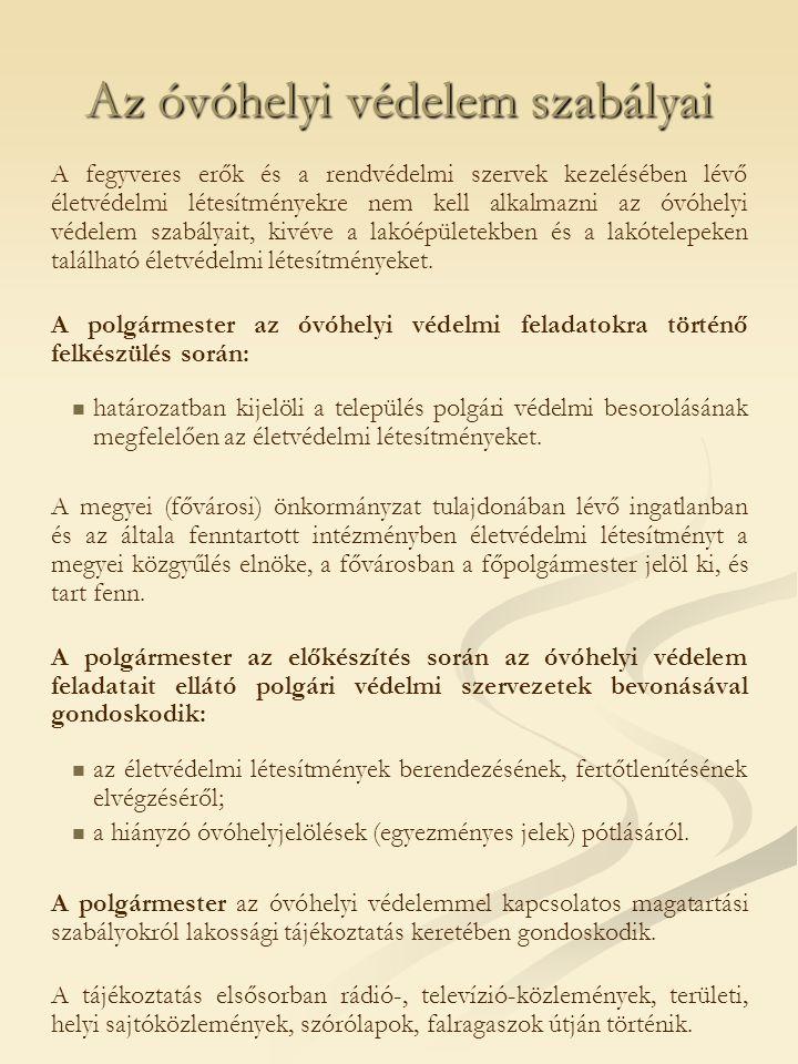 Az óvóhelyi védelem szabályai