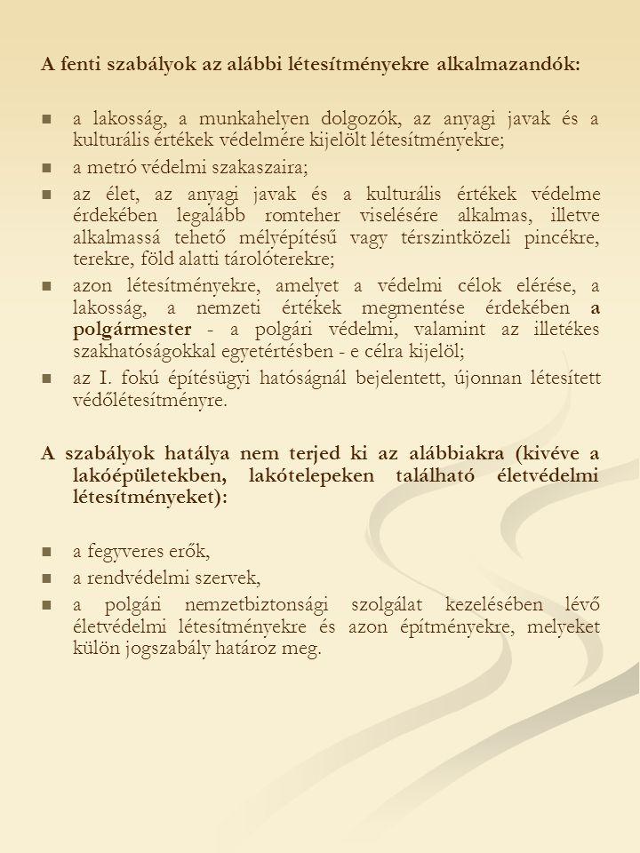 A fenti szabályok az alábbi létesítményekre alkalmazandók:
